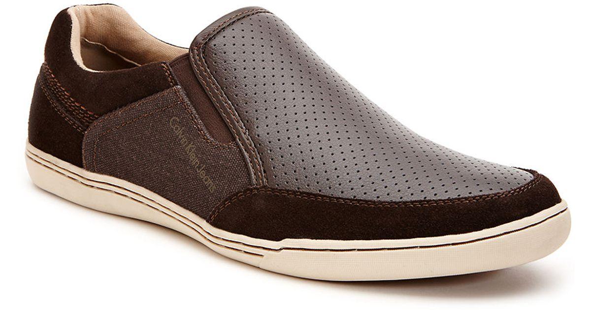 calvin klein chet slip on sneakers in brown for men save. Black Bedroom Furniture Sets. Home Design Ideas