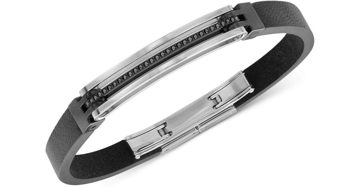 Lyst Swarovski Bengal Men S Hemae Tone Black Leather Bracelet In For