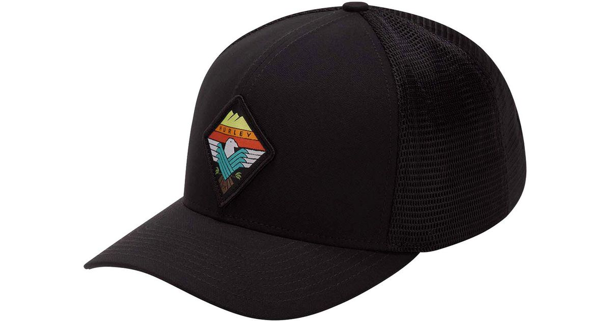 ... new zealand lyst hurley surfin bird embroidered patch trucker hat in  black for men af507 59d10 cd046d1560a8
