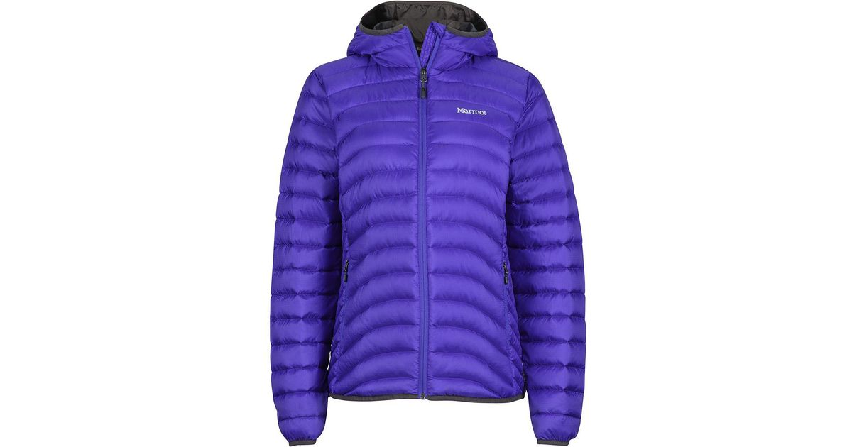 Lyst - Marmot Aruna Hooded Down Jacket in Blue 412d3d246add