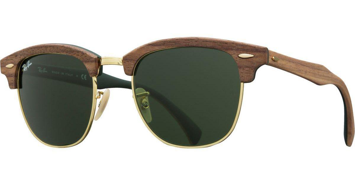 bfec3eba95 ... walnut wayfarer sunglasses 51mm d9ca9 5b98f promo code for lyst ray ban  clubmaster wood sunglasses in green 5b604 b2197 ...
