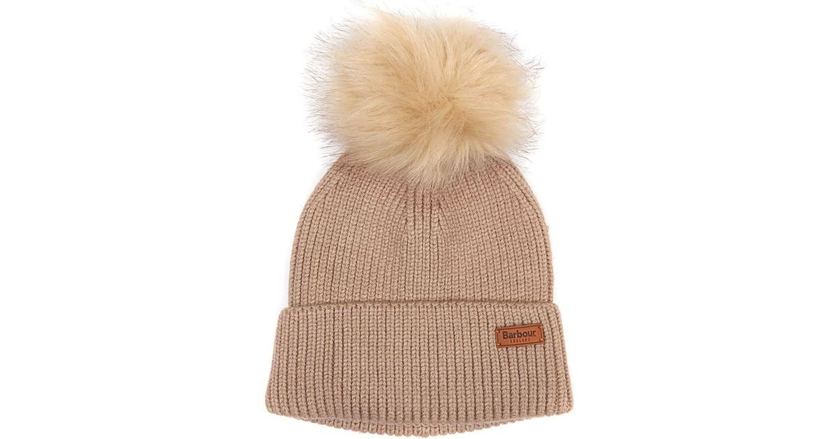 8b3710f56e4f0 Lyst - Barbour Dover Pom Beanie in Brown