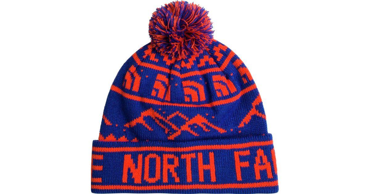 The north face Fair Isle Pom Beanie in Blue   Lyst
