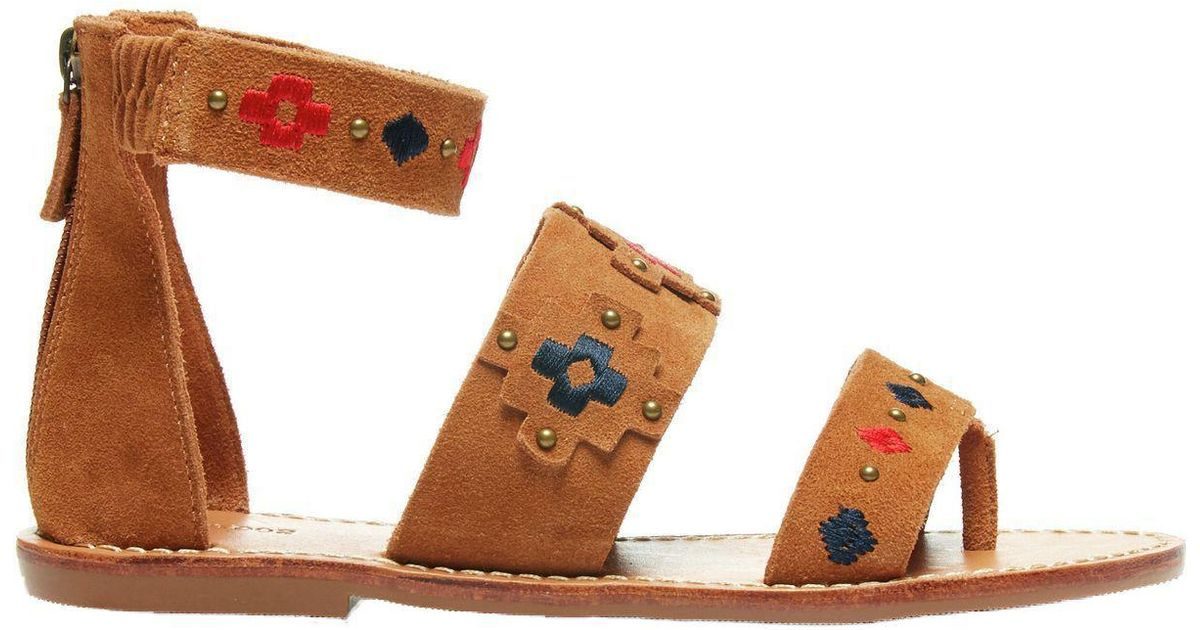 5cea7a5afdd Lyst - Soludos Embroidered Three Banded Sandal in Brown