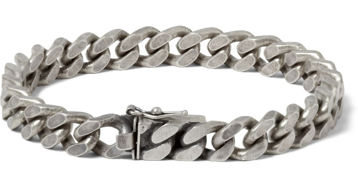 Lyst Saint Lau Burnished Sterling Silver Chain Bracelet In Metallic For Men