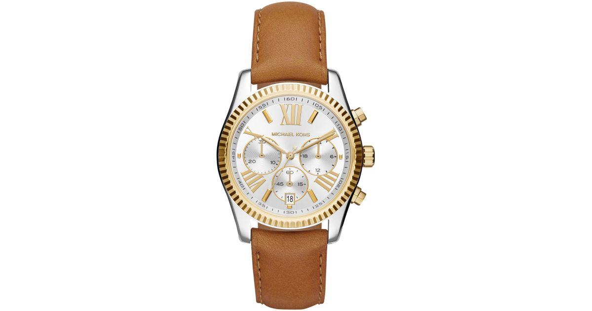 6b2d88635c6b Michael Kors Mk2420 Women s Lexington Chronograph Leather Strap Watch in  Brown - Lyst