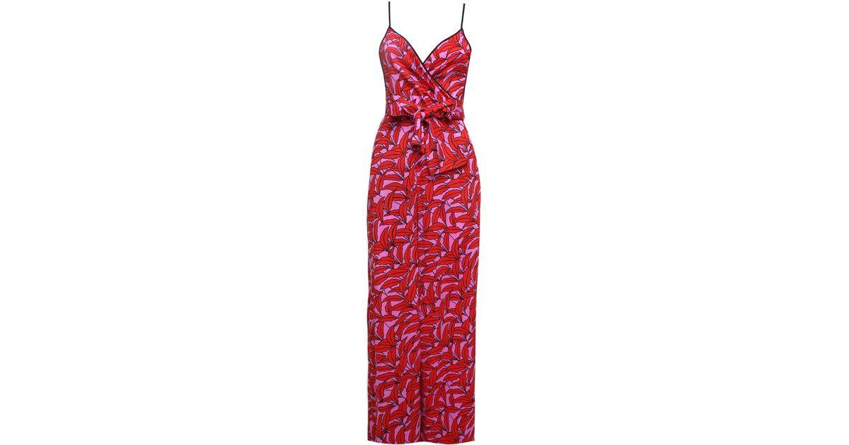 729326a88cb Lyst - Diane Von Furstenberg Barry Windsor Palm-print Viscose-blend Jumpsuit  in Red