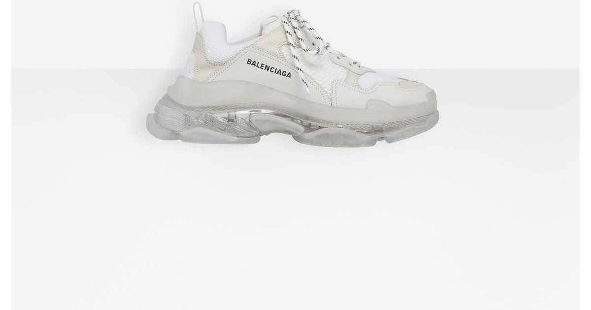 2e0e9ea1d500 Balenciaga Balenciaga Balenciaga Clear S Trainers For For For Triple White  Sole Lyst Men In fqp4Cwddn