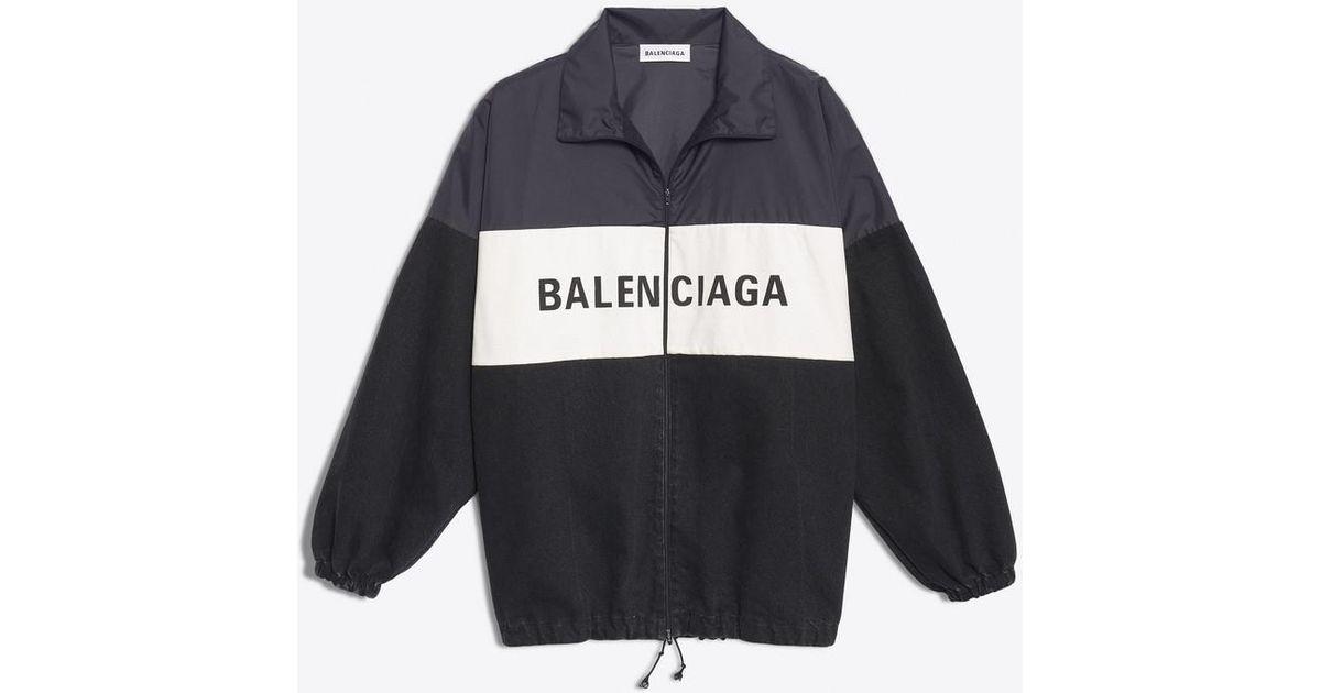 a43700cef61b Balenciaga Nylon Logo Denim Jacket in Black - Save 30% - Lyst