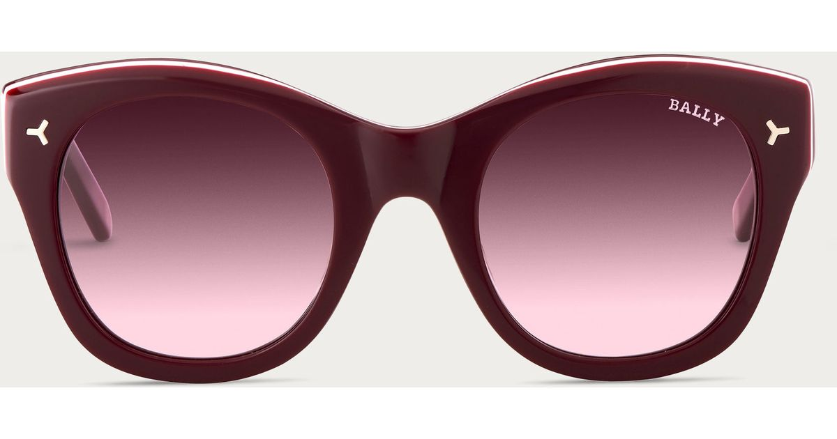 0cbb1ec717 Lyst - Bally Round Sunglasses Women ́s Burgundy Acetate Sunglasses in Purple