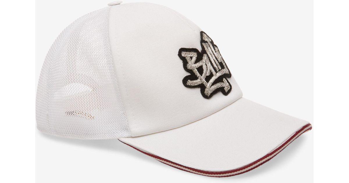 Heart Patch Baseball Cap Black, Mens cotton drill baseball cap in black Bally