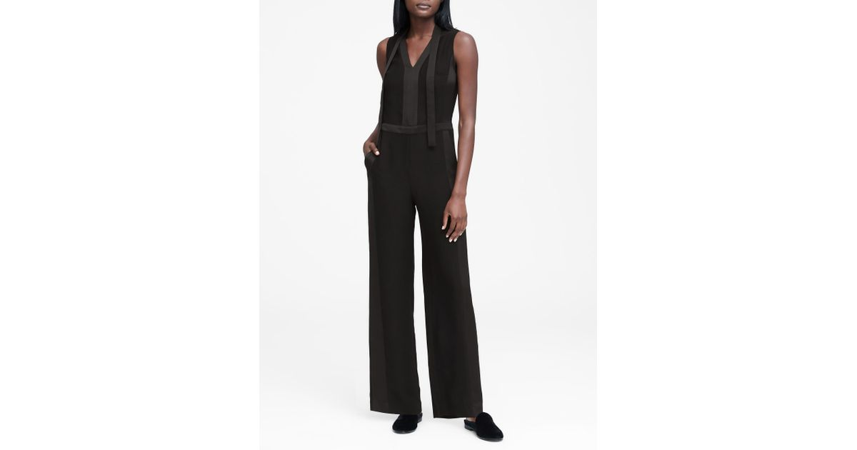 05828cf7497 Lyst - Banana Republic Petite Tie-neck Tuxedo Jumpsuit in Black