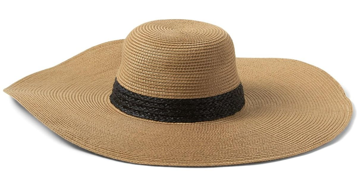 40f9f50bcd Banana Republic Packable Raffia Floppy Sun Hat in Brown - Lyst