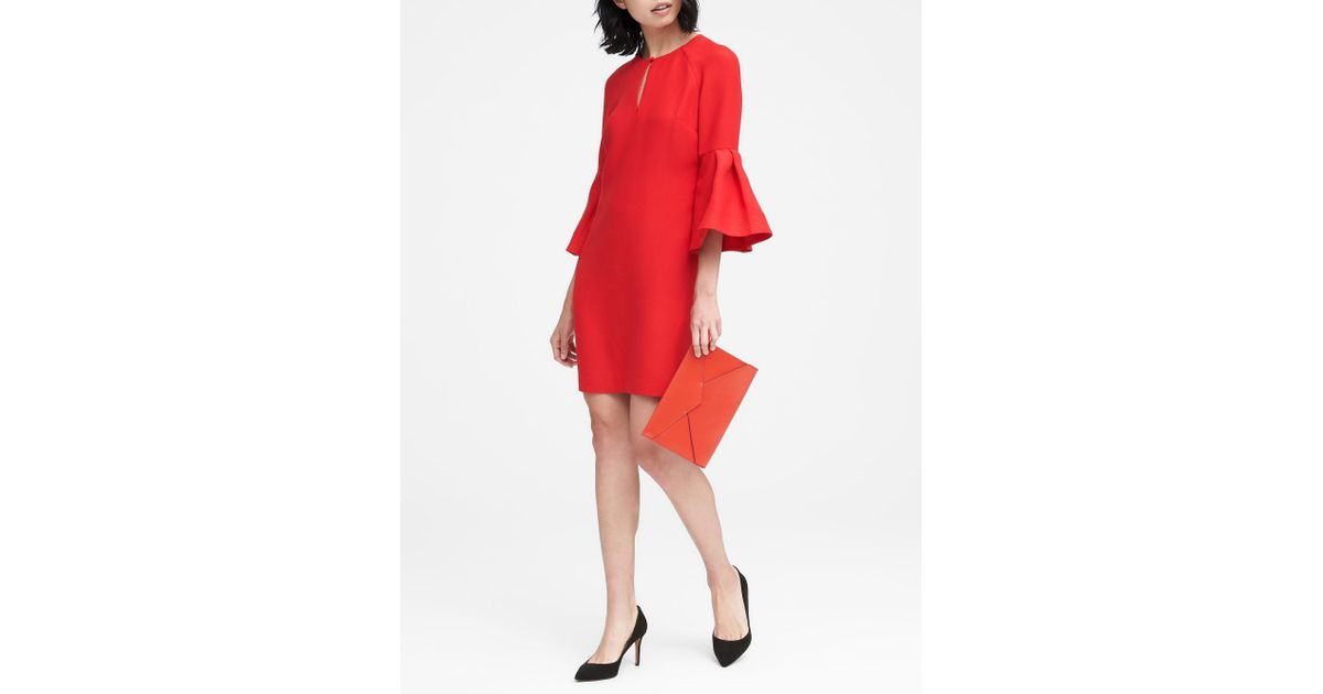 5f23849090 Lyst - Banana Republic Bell-sleeve Shift Dress in Red