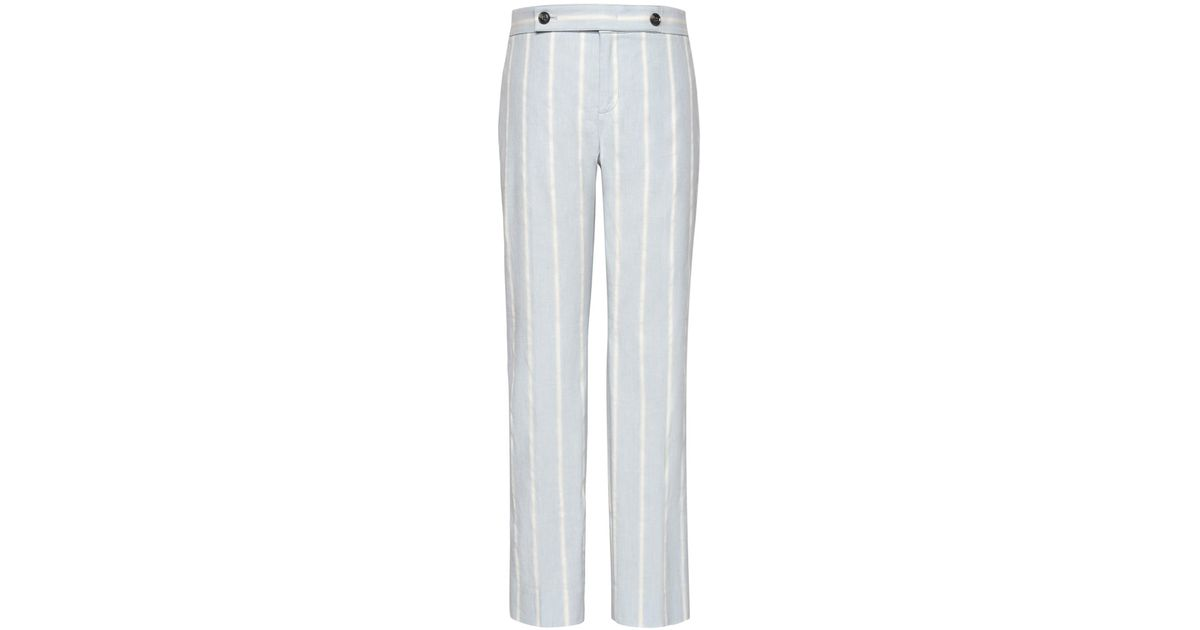 859c8d5fc91 Lyst - Banana Republic Avery Straight-fit Stretch Linen-cotton Stripe Ankle  Pant in Blue