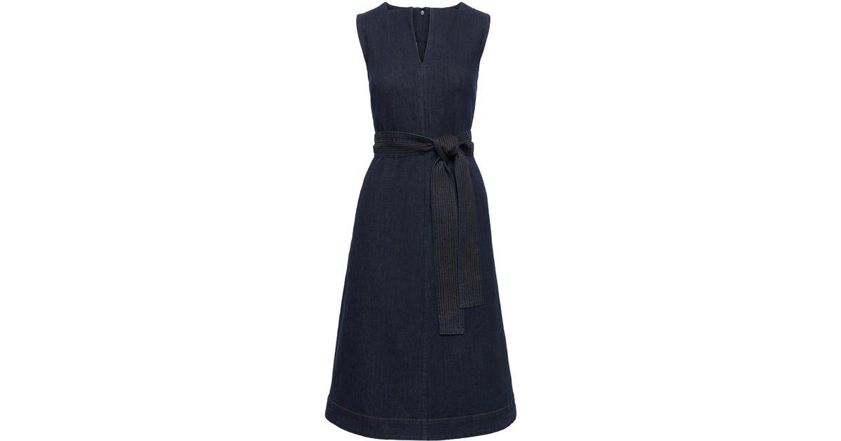 a1b9fd322e Lyst - Banana Republic Petite Notch-neck Denim Fit-and-flare Midi Dress in  Blue