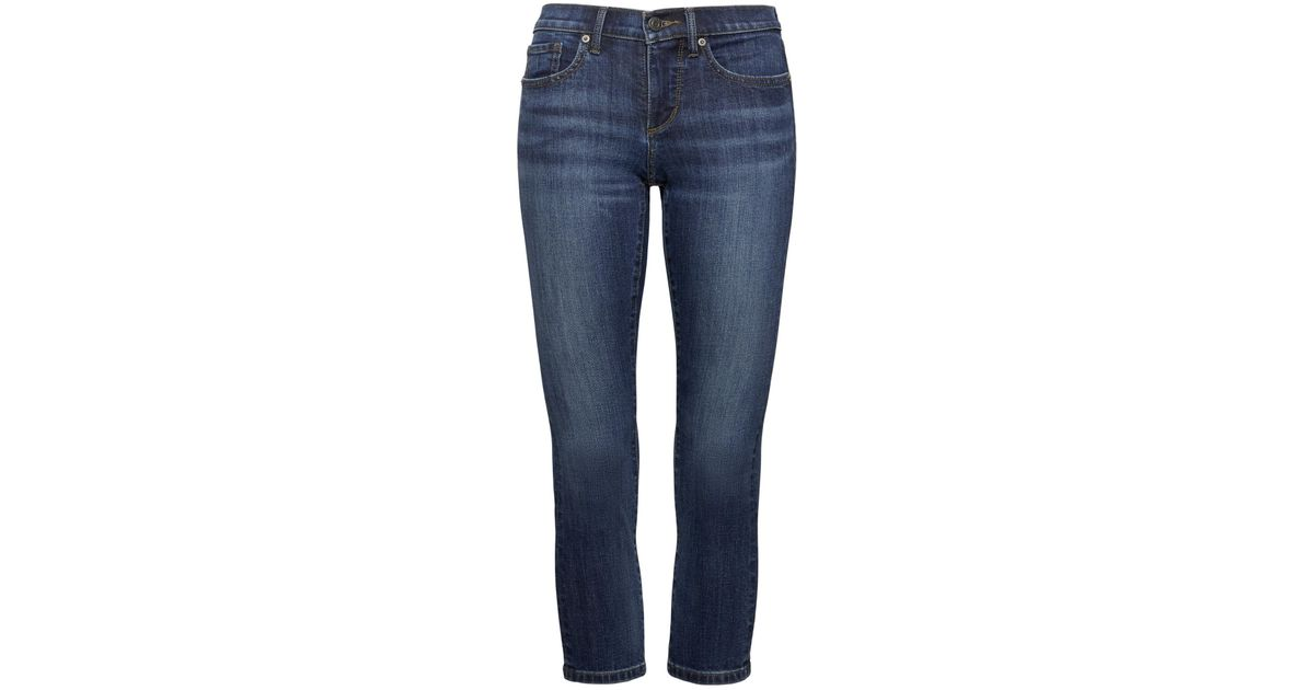 e1812dbf36ef8 Lyst - Banana Republic Petite Girlfriend Dark Wash Cropped Jean in Blue
