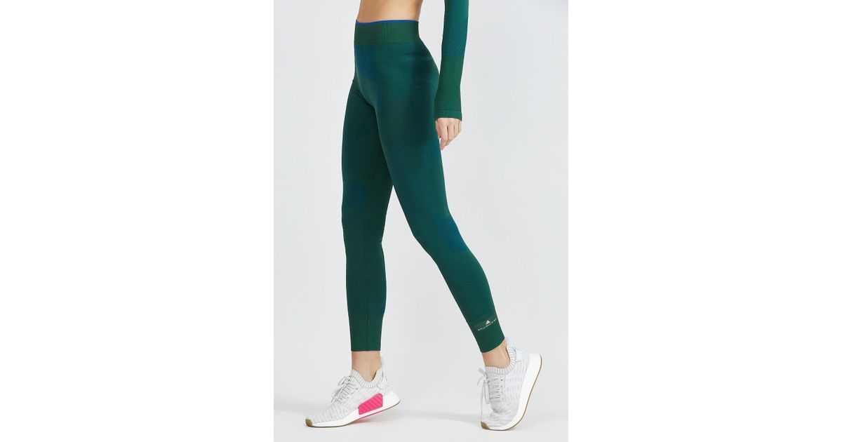 90593432e3 adidas By Stella McCartney Training Seamless Block Tight in Green - Lyst