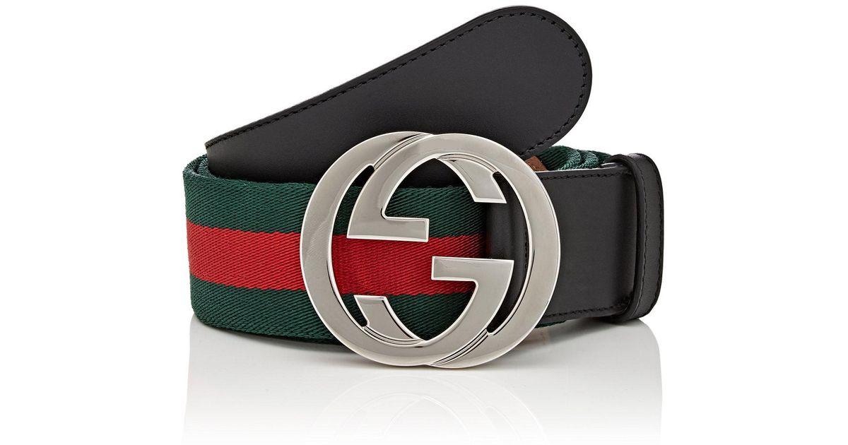 cecfe32dd Gucci Web Striped Canvas Belt for Men - Lyst