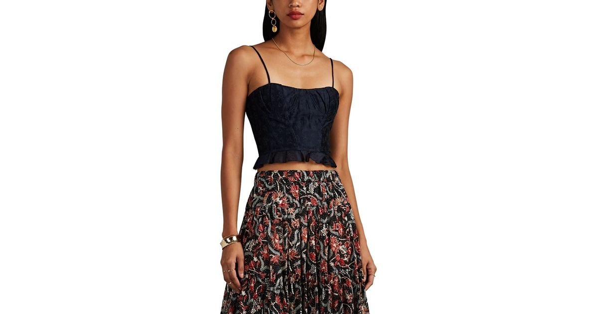 900ecb0f92733e Lyst - Ulla Johnson Isa Floral Cotton-silk Crop Top in Blue