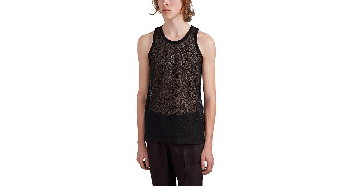 5fe70484abb43 Helmut Lang Cotton-blend Lace Tank Top in Black for Men - Lyst