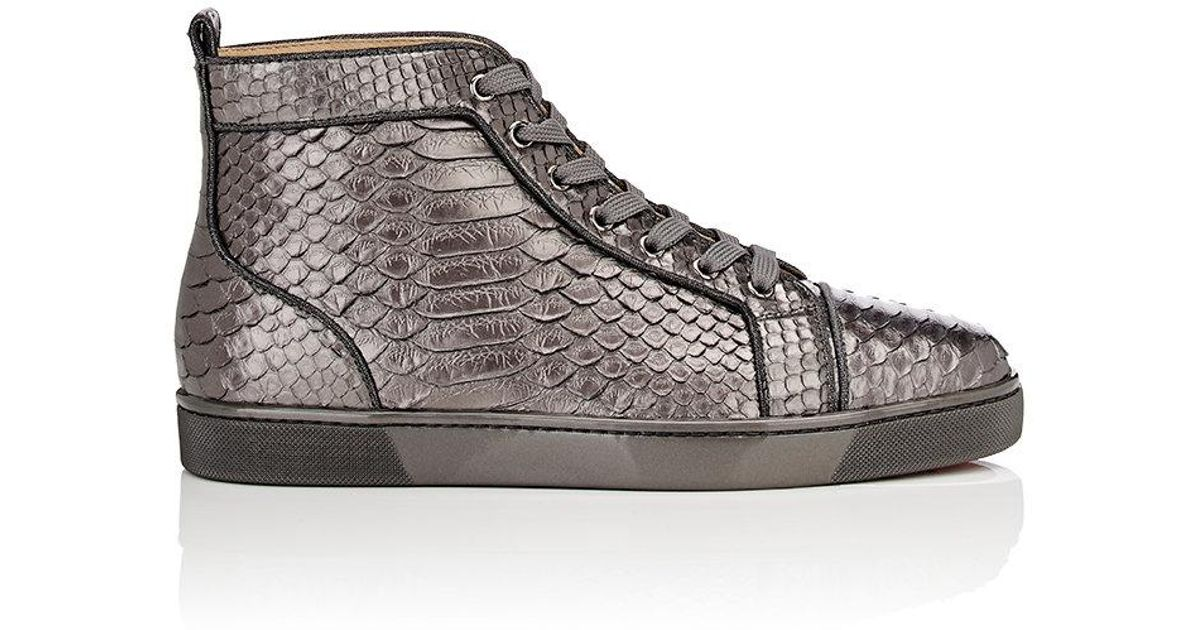 6081279e8bd Christian Louboutin Louis Orlato Flat Python Sneakers in Metallic - Lyst