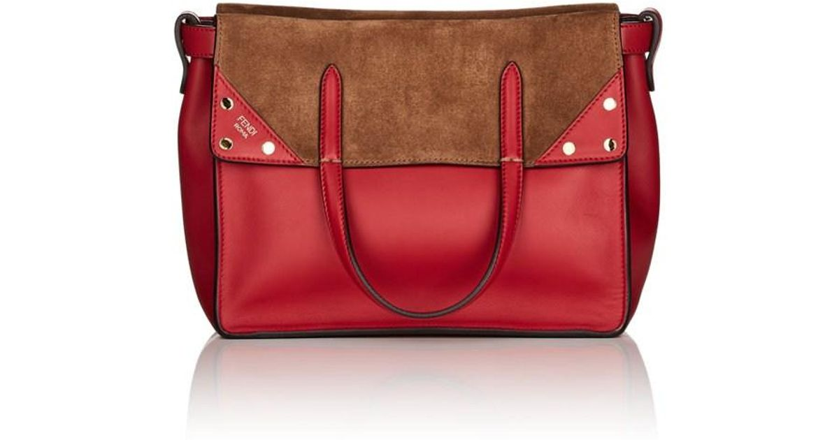 e08a0132ac2e Lyst - Fendi Flip Small Leather   Suede Tote Bag in Brown