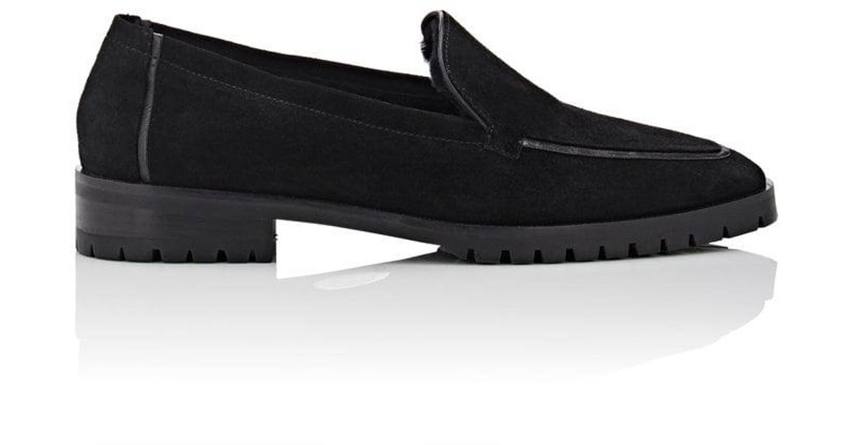 THE ROW Cory Suede Loafer, Black