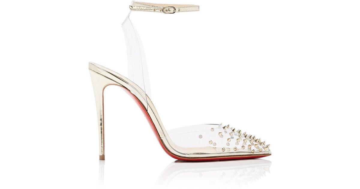 7dc738aae Christian Louboutin Spikoo Pvc & Specchio Leather Sandals in Metallic - Lyst