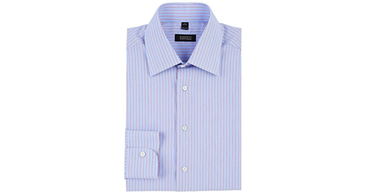 Barneys new york striped cotton poplin dress shirt in blue for New york and company dress shirts
