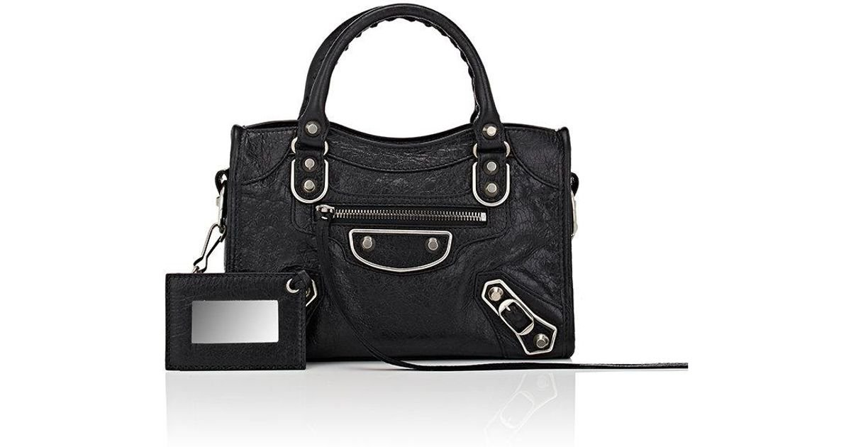 61e56f7c033a5 Lyst - Balenciaga Arena Metallic Edge Mini City Leather Shoulder Bag in  Black