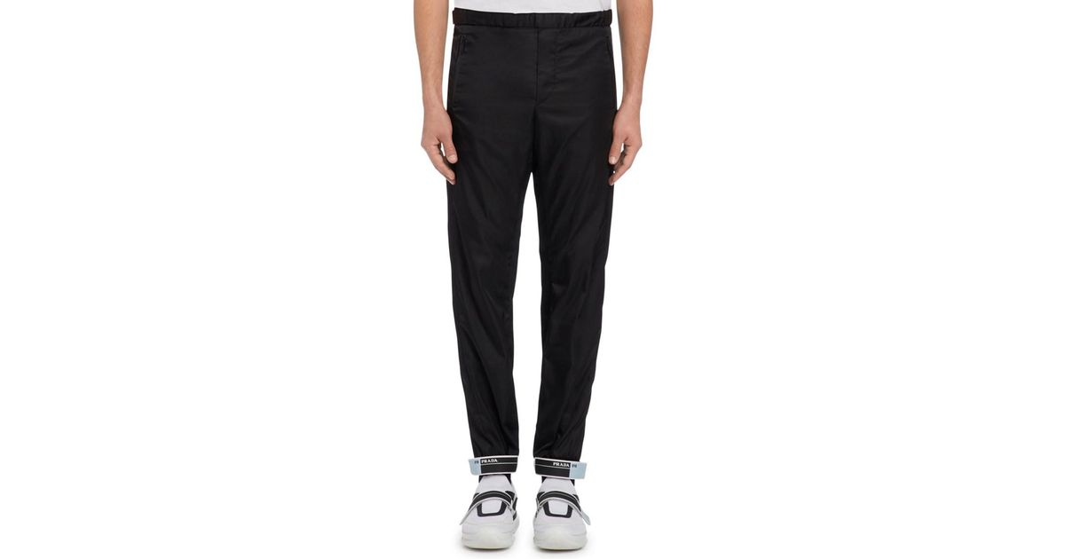 203a7c8b58b5 Prada Rubber Cuff Jogger Pants in Black for Men - Lyst