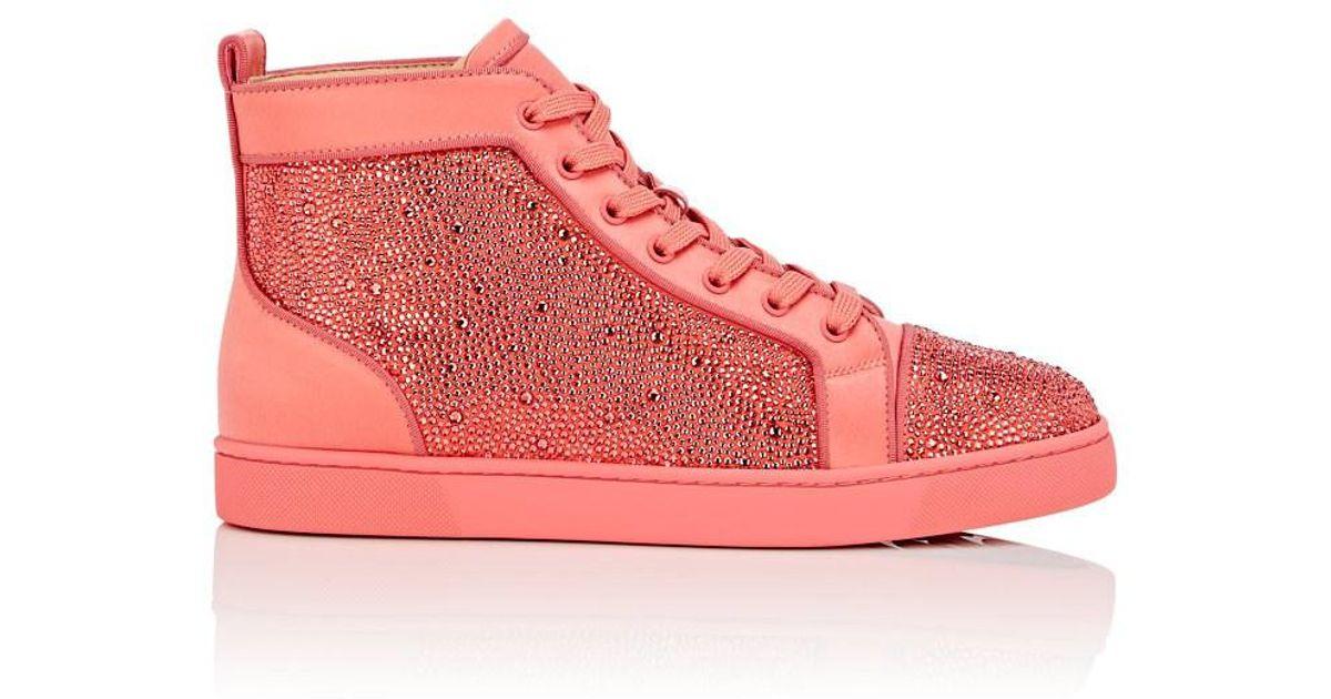 64750267132d Christian Louboutin Louis Orlato Flat Satin Sneakers in Pink for Men - Lyst