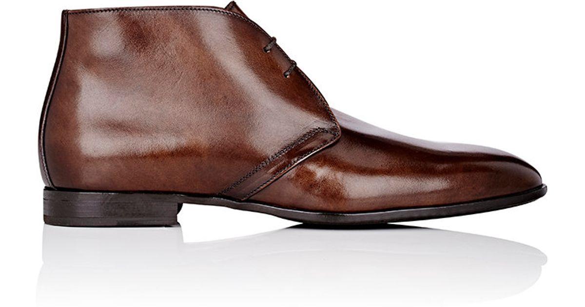 barneys new york plain toe chukka boots in brown for
