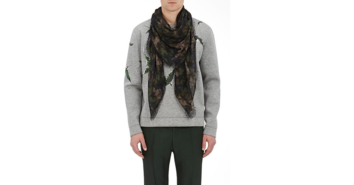 Valentino Camouflage- & Star-print Scarf In Blue