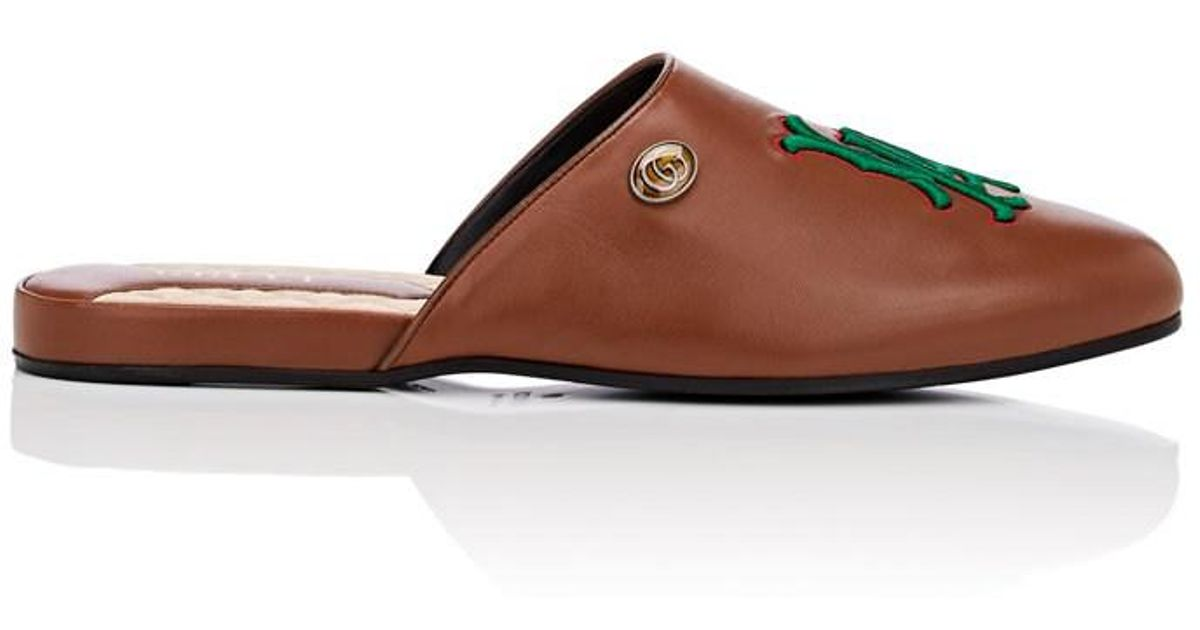 d777c873cce Lyst - Gucci La Dodgerstm Leather Slippers in Natural for Men