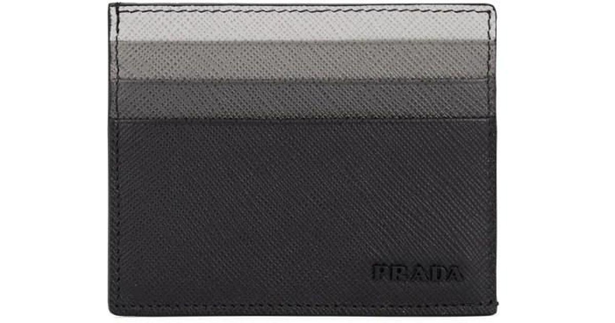 3f562154975510 Lyst - Prada Leather Card Case in Black for Men