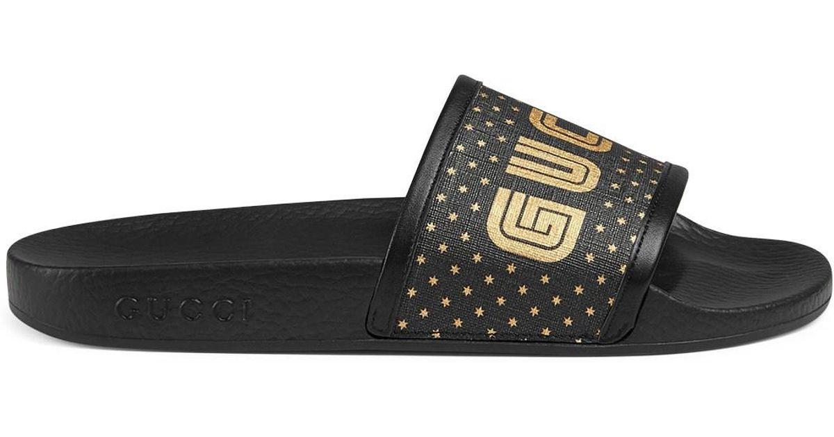 5c7f6ebf2 Lyst - Gucci Canvas Slide Sandals in Black