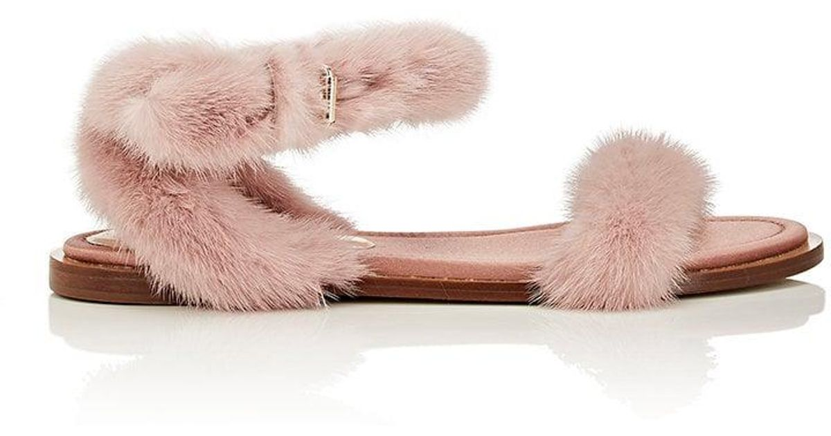fee42479b160 Lyst - Valentino Mink Fur Sandals in Pink
