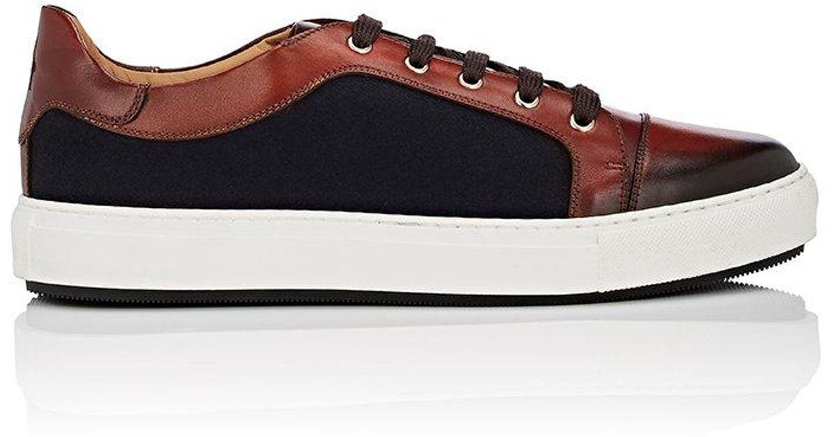 Mens Leather & Gabardine Sneakers Scarpe di Bianco ZEqlvTHM