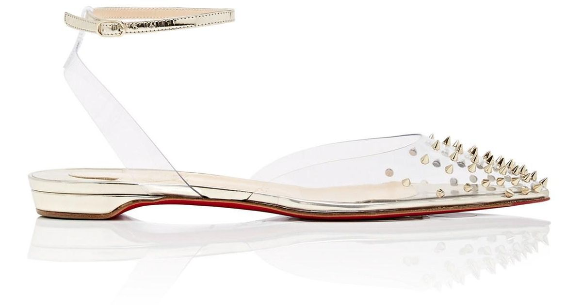 4d039dcb079 Christian Louboutin Spikoo Pvc   Specchio Leather Sandals in White - Lyst