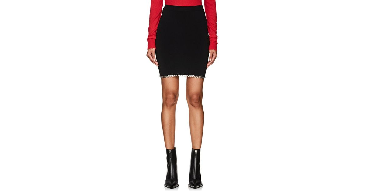 9442f9224a8 Alexander Wang Grommet-embellished Compact Knit Miniskirt in Black - Lyst