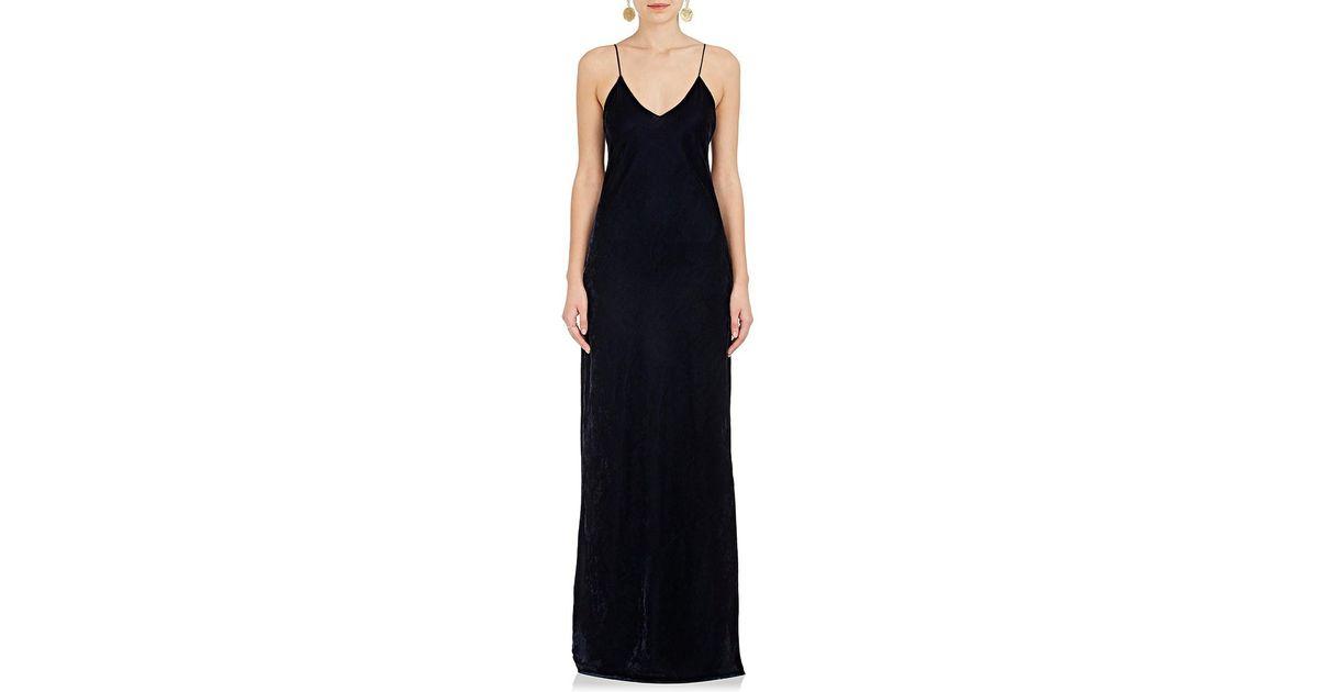 dc530e367c0a Nili Lotan Sasha Velvet Maxi Slip Dress in Blue - Lyst