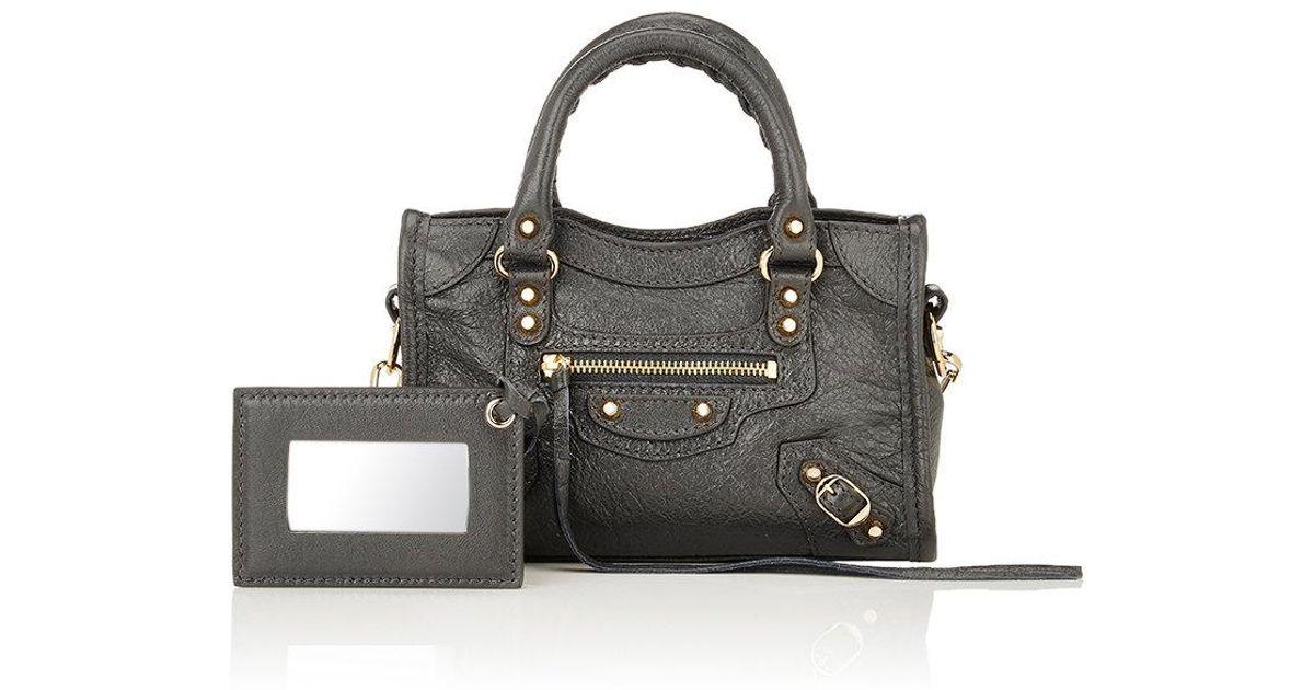 67e0d17694 Balenciaga Arena Leather Classic Nano City Bag in Gray - Lyst