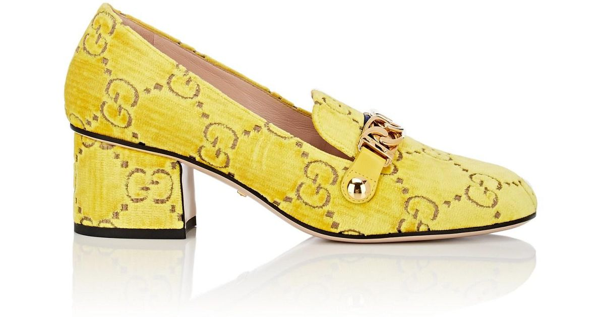 005625e1e96 Lyst - Gucci Velvet GG Logo Loafers in Yellow