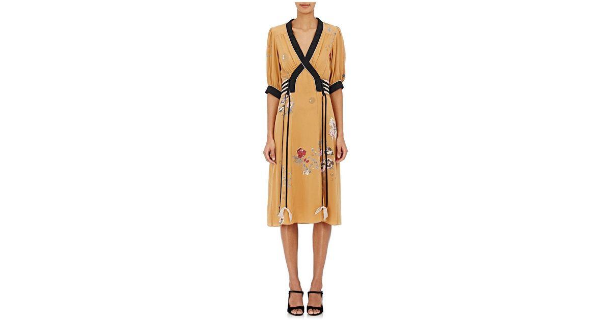 Womens Ruffle Floral Silk Jacquard Dress Maison Mayle