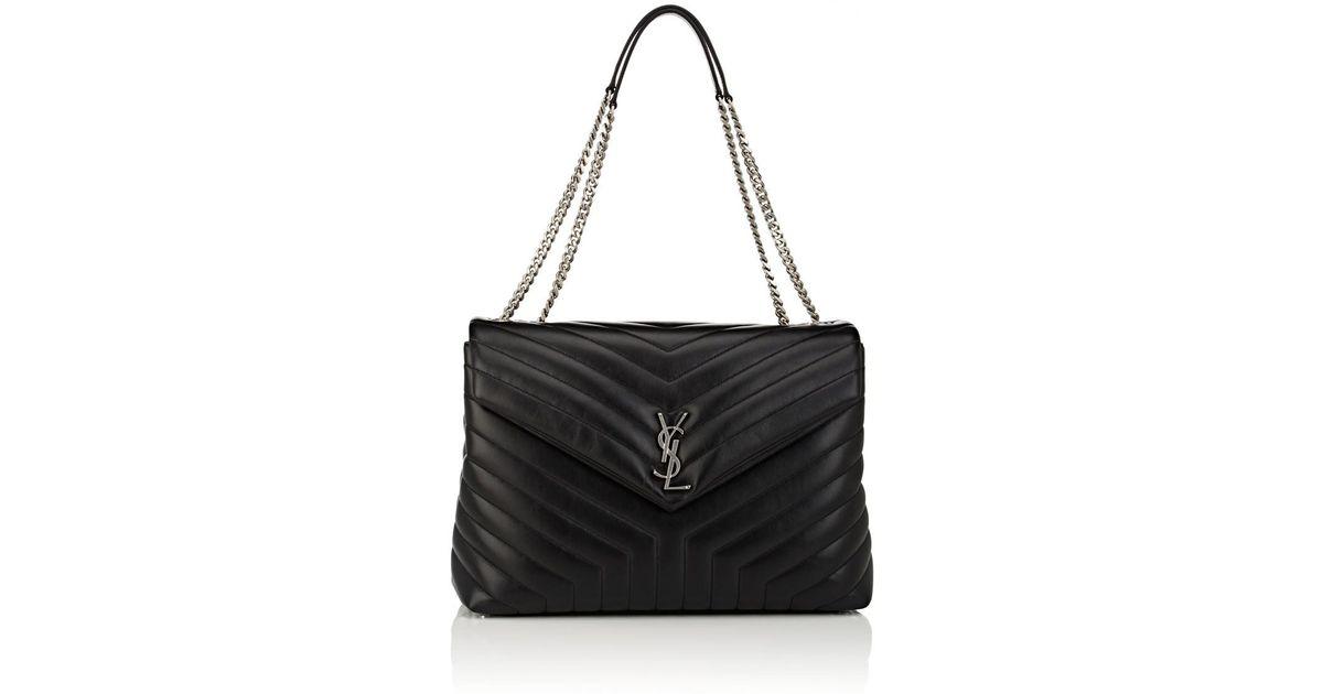 255166b3885 Saint Laurent Monogram Loulou Large Leather Shoulder Bag in Black - Lyst