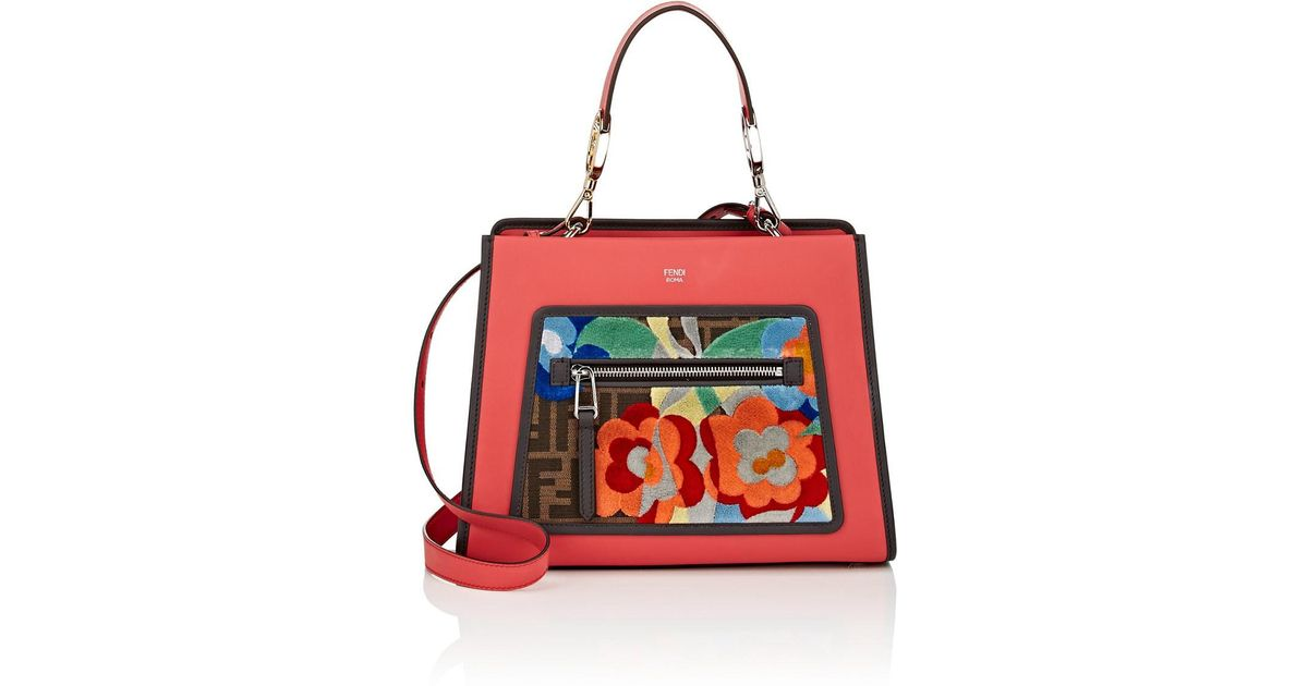 89583fe9fd7 Fendi Runaway Small Leather Tote Bag in Red - Lyst