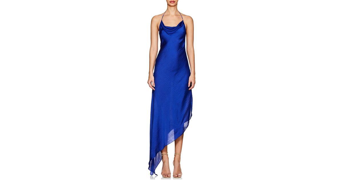 9d81b16c3b08 Juan Carlos Obando Washed Satin Backless Gown in Blue - Lyst