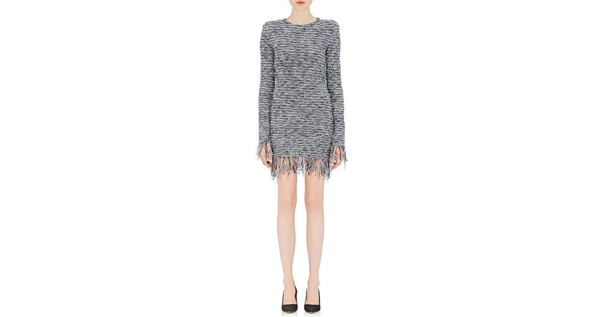 02bd34e229a822 Lyst - Balmain Fringed Tweed Dress in Black